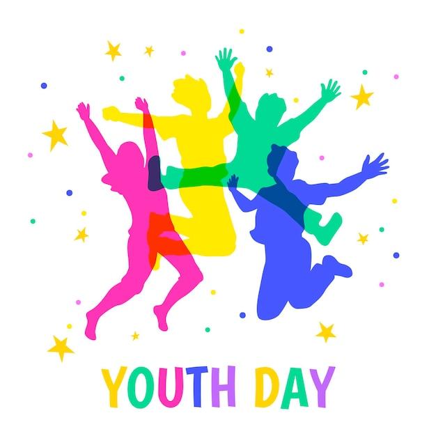 Día de la juventud saltando siluetas de personas vector gratuito