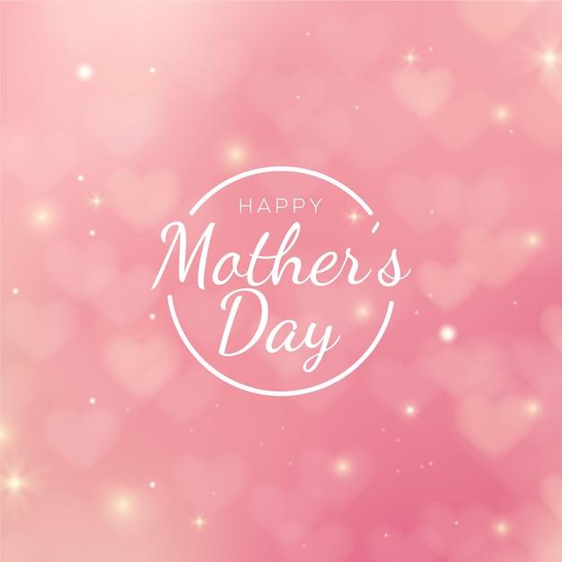 Día de la madre borrosa con saludo Vector Premium