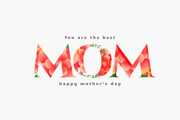 Día de la madre feliz mejor diseño de tarjeta de mamá vector gratuito