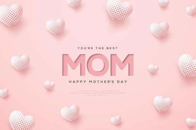 Día de la madre con globos blancos 3d. Vector Premium