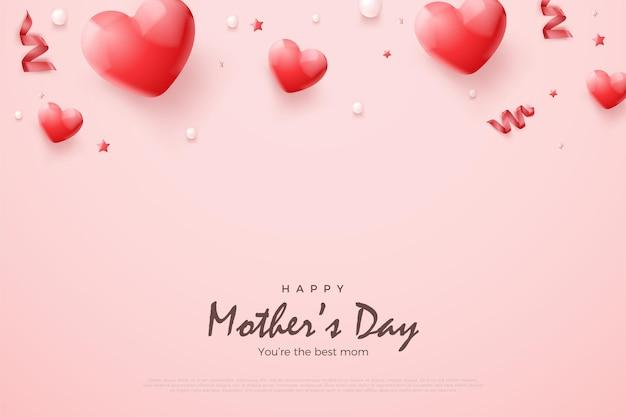 Día de la madre con globos rojos 3d. Vector Premium