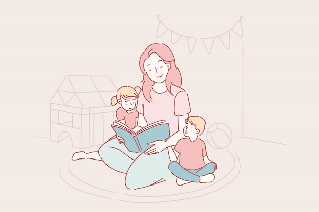 Día de la madre, jardín de infantes, concepto de maternidad. Vector Premium