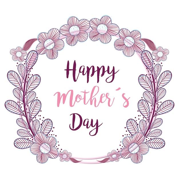 Día De La Madre Símbolo Con Decoración De Flores Ramas