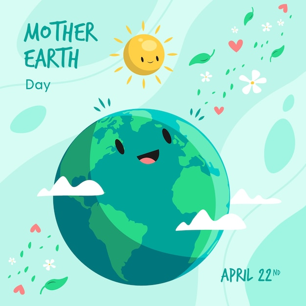 Día de la madre tierra sonriendo al sol Vector Premium