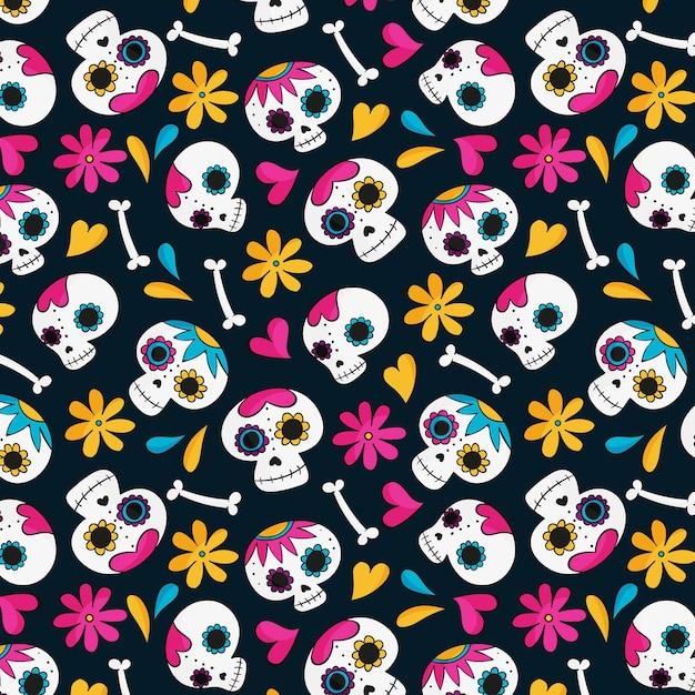 Día de los muertos diseño dibujado a mano patrón vector gratuito