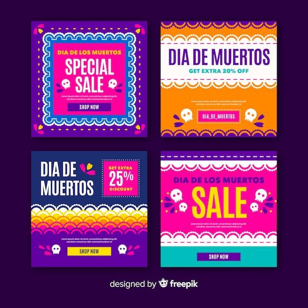 Día de muertos instagram post collection vector gratuito