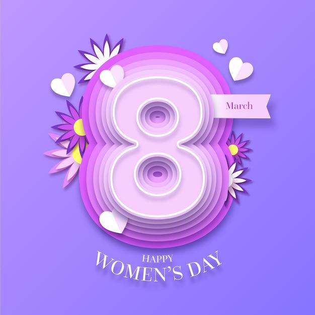 Día de la mujer en concepto de estilo de papel vector gratuito