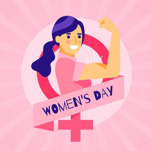 Día de la mujer en diseño plano. Vector Premium