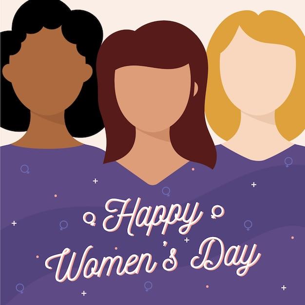 Día de la mujer en diseño plano. vector gratuito
