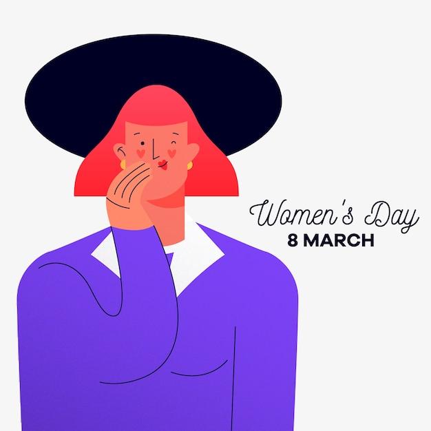 Día de la mujer con guiño de mujer vector gratuito