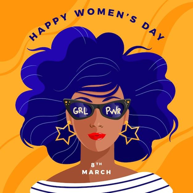 Día de la mujer con mujer con gafas de sol vector gratuito