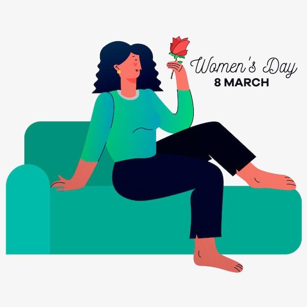 Día de la mujer con mujer en el sofá sosteniendo rosa vector gratuito
