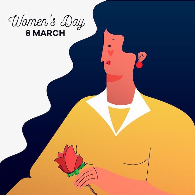 Día de la mujer con mujer sosteniendo rosa vector gratuito
