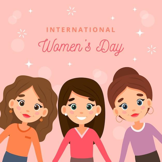 Día de la mujer con mujeres de dibujos animados. vector gratuito