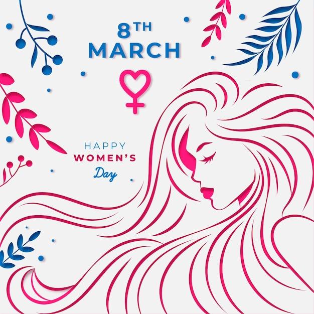 Día de la mujer en papel estilo fondo vector gratuito