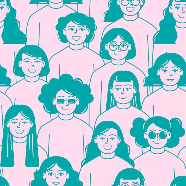 Día de la mujer patrón de rostros de mujeres vector gratuito