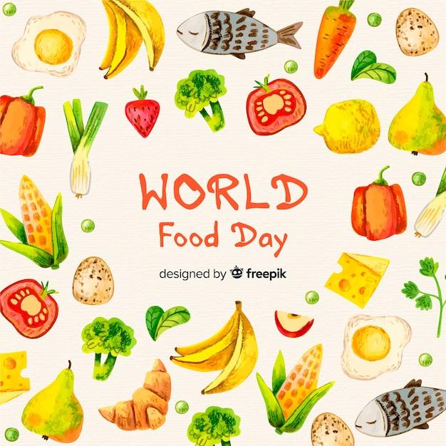 Día mundial de la acuarela de la comida vector gratuito