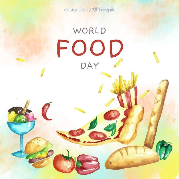 Día mundial de la acuarela con rebanada de pizza vector gratuito