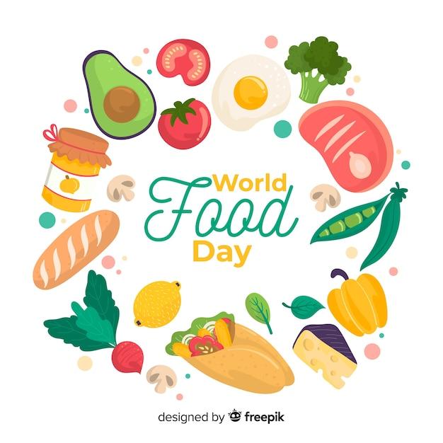 Día mundial de la alimentación con variedad de alimentos nutritivos. vector gratuito