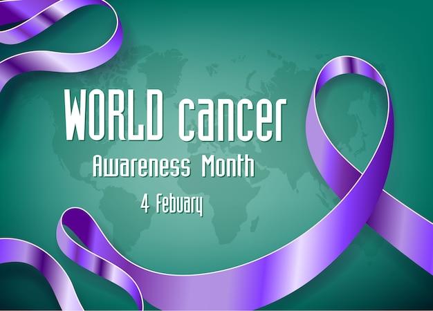 Día mundial del cáncer cinta de reconocimiento y mapa del mundo Vector Premium
