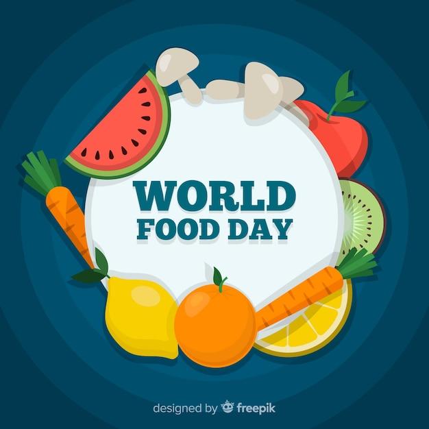 Día mundial de la comida celebrado con frutas y verduras. vector gratuito