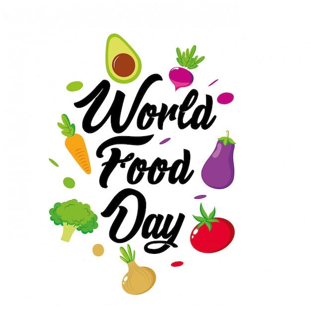 Día mundial de la comida con dibujos animados de vegetales Vector Premium