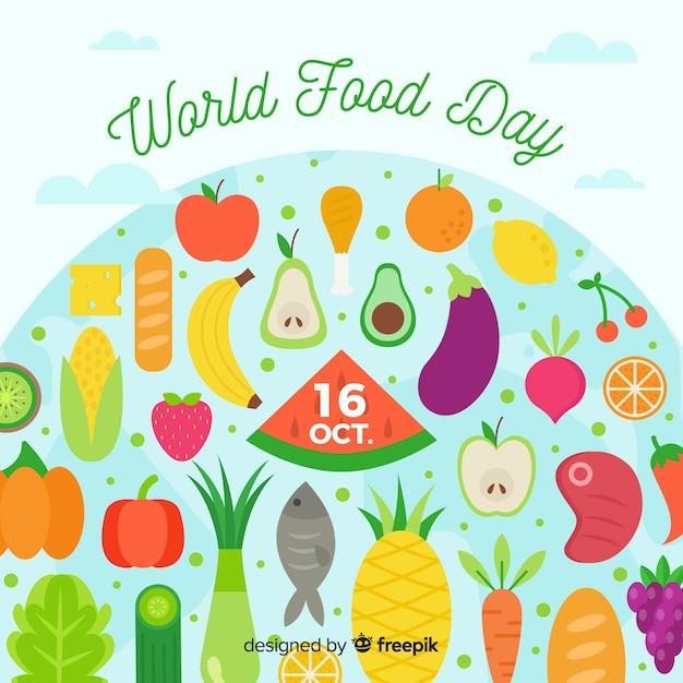 Día mundial de la comida de diseño plano vector gratuito