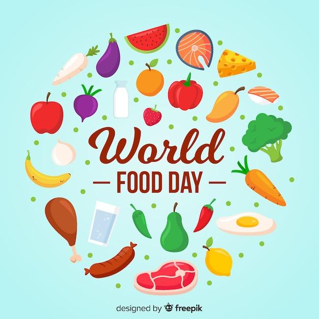 Día mundial de la comida en diseño plano vector gratuito