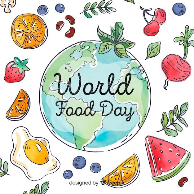 Día mundial de la comida con rodajas de verduras vector gratuito