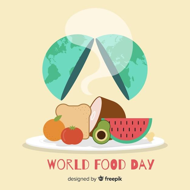Día mundial de la comida con tierra en diseño plano vector gratuito