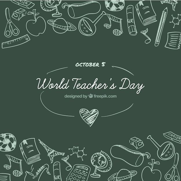 Día mundial de los docentes sobre un fondo de la pizarra verde vector gratuito