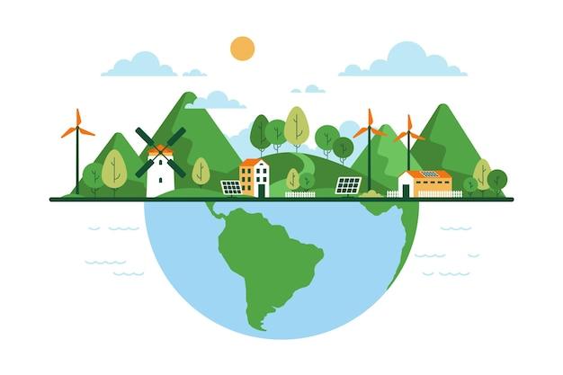 Día mundial del hábitat del diseño plano vector gratuito