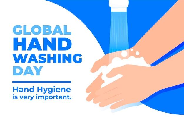 Día mundial del lavado de manos de diseño plano con manos y grifo vector gratuito