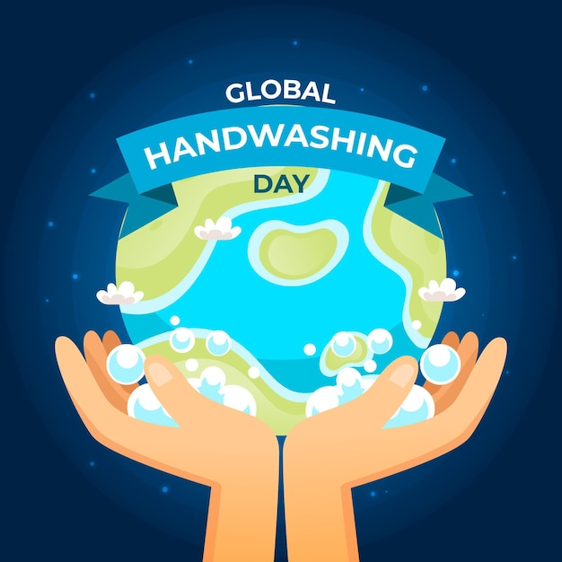 Día mundial del lavado de manos con manos y globo vector gratuito