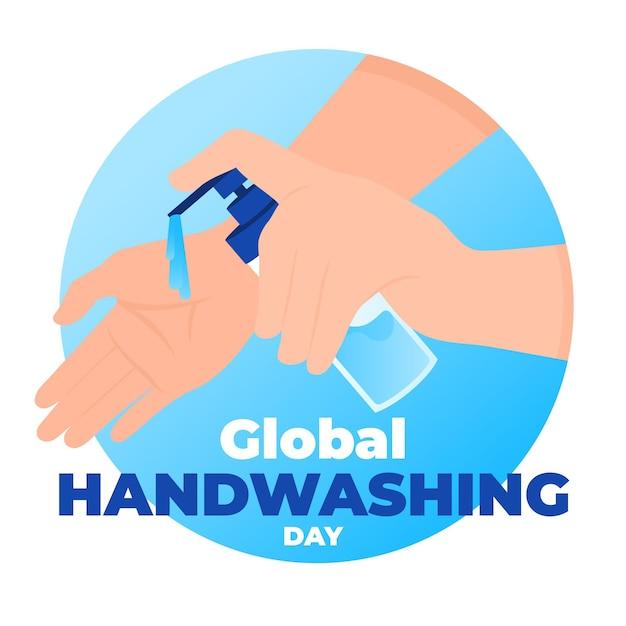 Día mundial del lavado de manos con manos y jabón vector gratuito