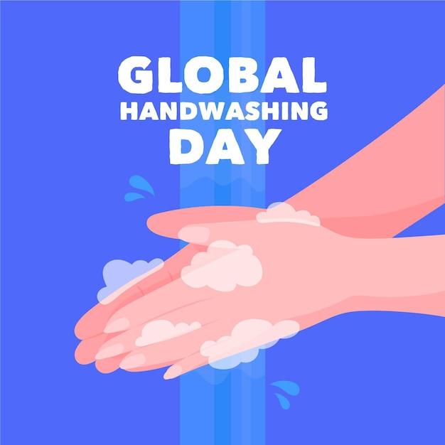 Día mundial del lavado de manos vector gratuito