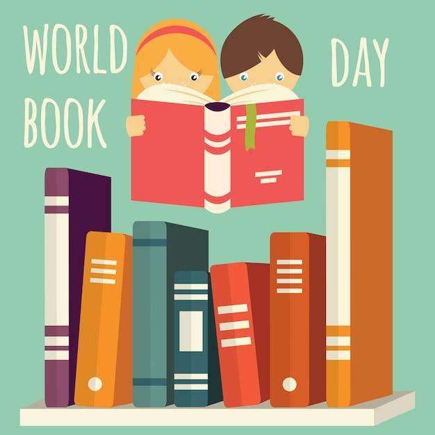 Día mundial del libro, niña y niño leyendo con una pila de libros en un estante Vector Premium