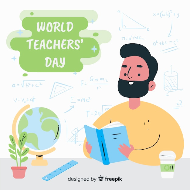 Día mundial del maestro dibujado a mano vector gratuito