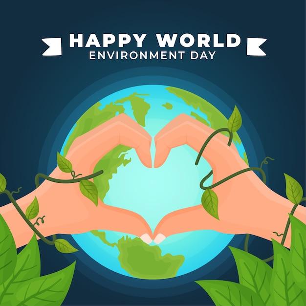 Día mundial del medio ambiente y corazón vector gratuito