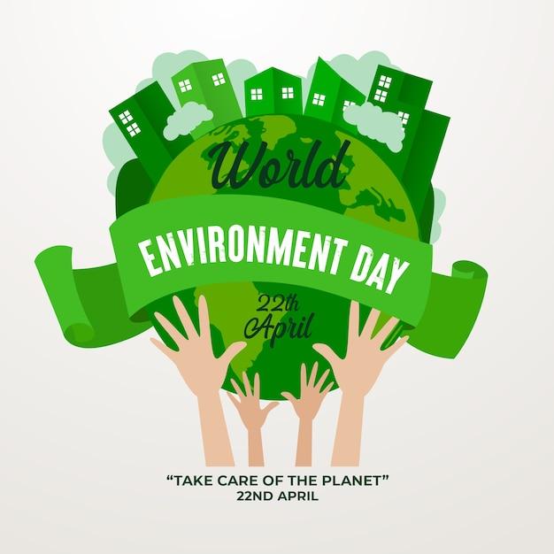 Día mundial del medio ambiente estilo plano vector gratuito