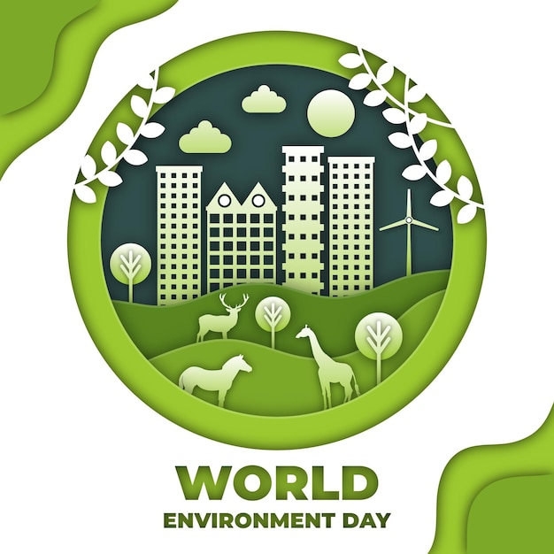 Día mundial del medio ambiente en papel estilo fondo Vector Premium