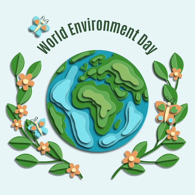 Día mundial del medio ambiente en papel vector gratuito
