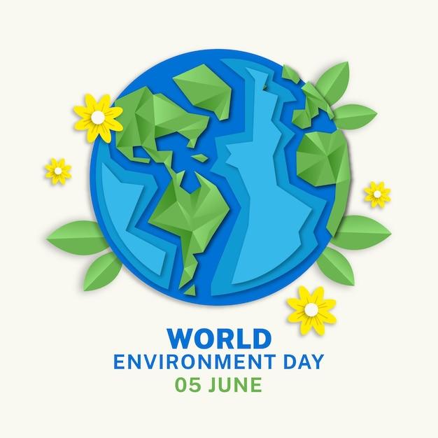 Día mundial del medio ambiente en papel Vector Premium