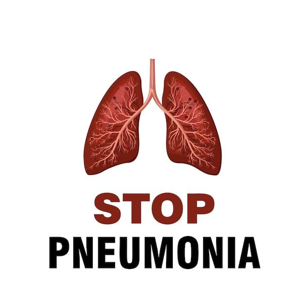 Día mundial de la neumonía, noviembre. detén la neumonía. salva a un niño. Vector Premium
