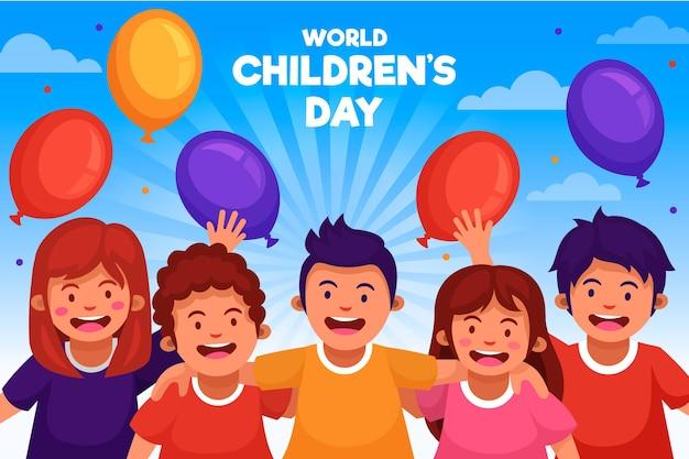 Día mundial del niño con globos de colores. vector gratuito
