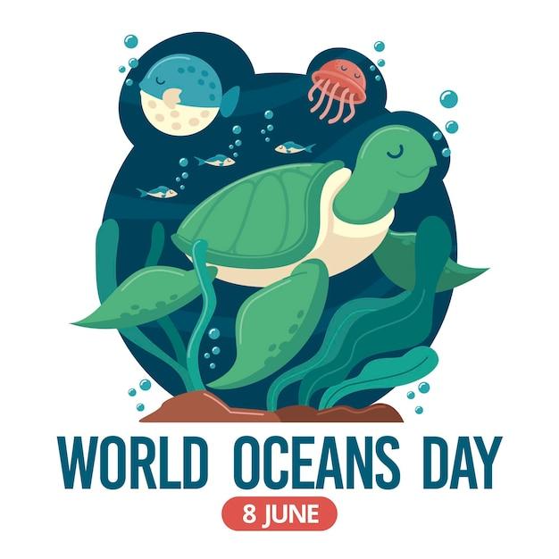 Día mundial de los océanos con tortuga Vector Premium