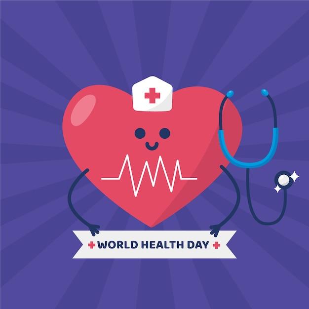 Día mundial de la salud y corazón vestido de enfermera Vector Premium