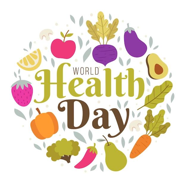 Día mundial de la salud dibujado a mano vector gratuito