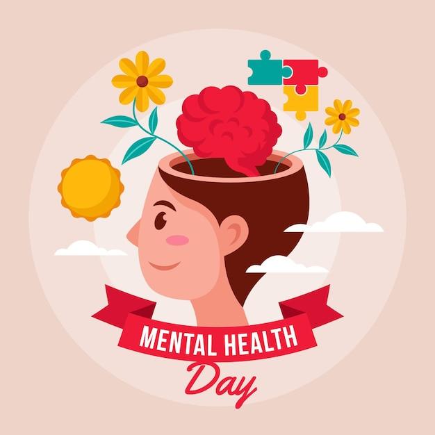Día mundial de la salud mental Vector Premium