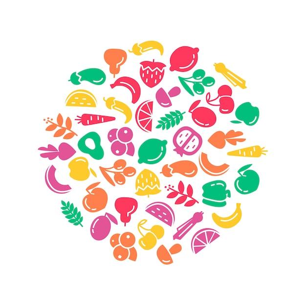 Día mundial de la salud orgánica. ilustración de fondo de frutas y verduras vector gratuito